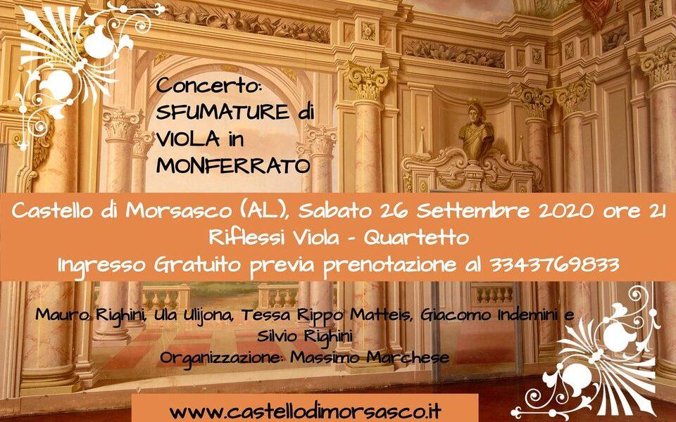"""Concerto """"Sfumature di Viola in Monferrato"""" sabato 26 al Castello di Morsasco"""