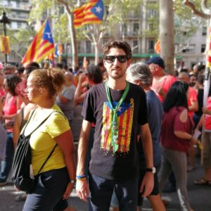 Alessio Ercoli a Barcellona alla Diada del 2018