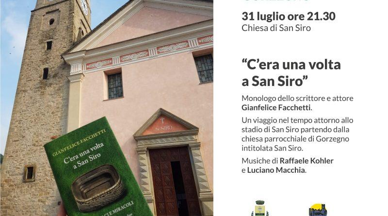 Sabato 31 Gianfelice Facchetti a Gorzegno presenta il suo ultimo libro